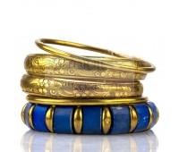 Набор браслетов - золотистые и синий