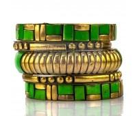 Набор из 5 браслетов - зелено-золотистый