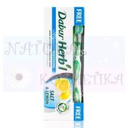 Зубная паста Соль и лимон, травяная с зубной щеткой / Dabur Herb'l Salt and Lemon / 150 г