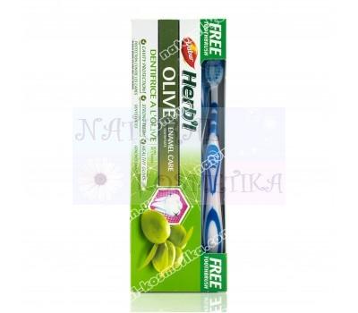 Зубная паста Хербал с оливой / Dabur Herb'l Olive / 150 г + зубная щетка