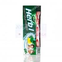 Зубная паста Мята + лимон, травяная, с зубной щеткой  / Dabur Herb'l Mint & lemon / 150 г