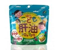 Детский рыбий жир и витамин C, со вкусом банана / Kanyu Drop Gummy / Unimart Riken / 100 мармеладок