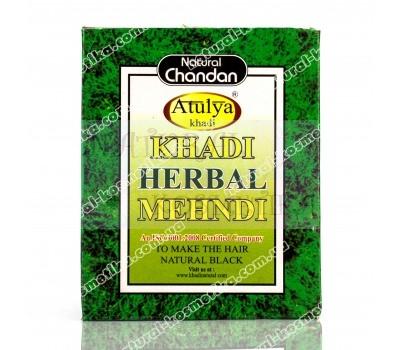 Натуральная краска для волос на основе хны (цвет черный) Khadi, Herbal Mehndi, Black, 100 гр.