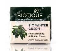 Крем био Гаультерия для лица против прыщей и угрей / Биотик, Biotique Bio Winter Green Spot Correcting Anti-Acne / 15 г