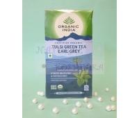 Зеленый чай с тульси и бергамотом / Green tea, Tulsi, Earl Grey, Organic India / 25 пакетиков