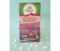 Зеленый чай с тульси и гибискусом / Green tea, Tulsa, Pomegranate, Organic India / 25 пакетиков