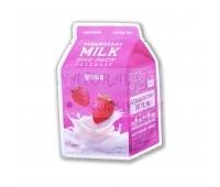Маска тканевая Клубника на основе молочных протеинов, Strawberry Milk One-Pack - A'Pieu, Корея 21 г