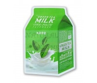Тканевая маска с экстрактом зеленого чая и гамамелиса -меньшает проявления купероза, устраняет отечность лица A'PIEU Green Tea Milk One Pack 1 шт-21 г