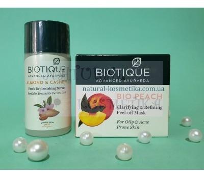 Набор Маска для жирной кожи Био Персик + сыворотка для волос, Биотик / Bio Almond & Cashew Replenishing Serum + Bio Peach Face Pack