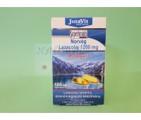 Омега-3 из масла норвежского лосося в капсулах, 1200 мг  / Norveg Lazacolaj, JutaVit / Венгрия / 100 таб.