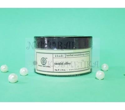 Травяной питательный крем сандал и олива Кхади / Herbal nourishing cream sandal&olive / Khadi / Индия / 50 г