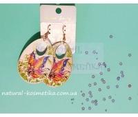 Серьги-капельки с бабочками