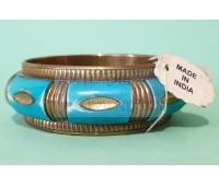 Стильный голубой браслет с золотистыми вставками